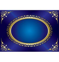 blue elegant vintage card with gold frame vector image vector image