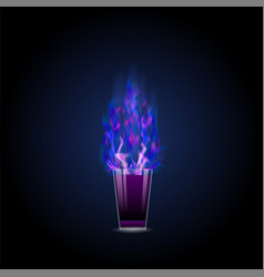 Burning drink alcohol cocktail shot vector