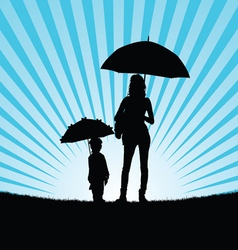Child with girl silhouette vector