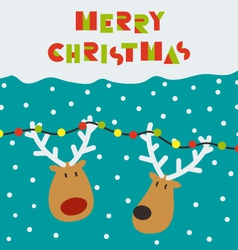 Christmas card with two deers vector image vector image