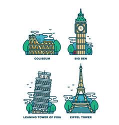 european attractionsparis eiffel tower vector image
