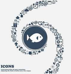 fish icon in the center Around the many beautiful vector image