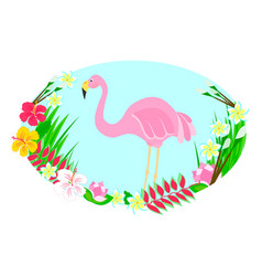 flamingo and tropical flowers vector image vector image