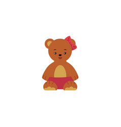 flat cartoon bear toy with red bowtie vector image