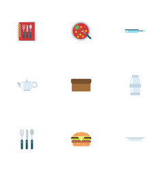 Flat icons broth fast food dish and other vector