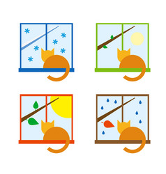 Four season icon set with cat on a windowsill vector