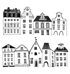 Hand drawn houses borders vector image vector image