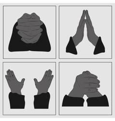 Hands in prayer vector image vector image