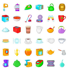 household icons set cartoon style vector image vector image