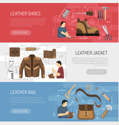 Leather goods horizontal banners vector
