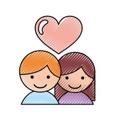 Little couple with heart vector