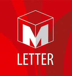 logo the letter M in the form of a cube vector image vector image