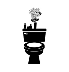 monochrome toilet with decorative vase vector image