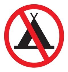 No camping sign vector image vector image