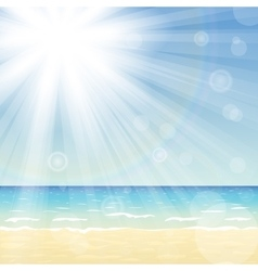 Ocean landscape with bright sun vector