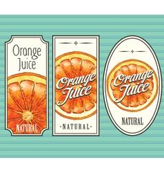 Orange juice labels set vector image vector image