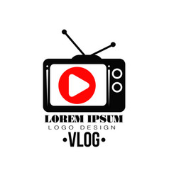 Original label with red play button on vector