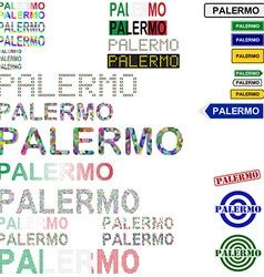 Palermo text design set vector