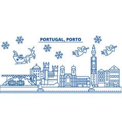 Portugal porto winter city skyline merry vector
