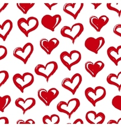 Seamless heart pattern hand drawn with ink red vector