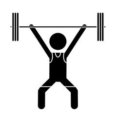 Silhouette man weight lifter sport athlete vector