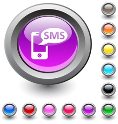 SMS round button vector image vector image