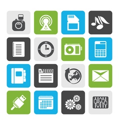 Flat phone performance business and office icons vector
