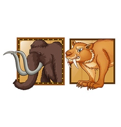 Mammoth and wild tiger on badges vector image