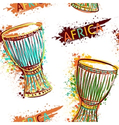 Seamless pattern with african drum tam tam vector