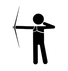 Silhouette archery player aiming bow game vector