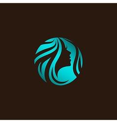 Woman beauty hair salon logo vector