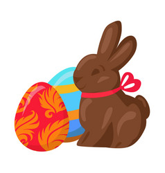 Sweet chocolate bunny and two multicolored eggs vector