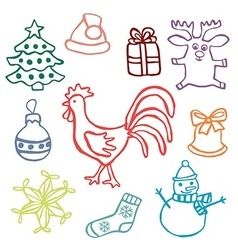 2017 chrismas cute doodle icon set vector