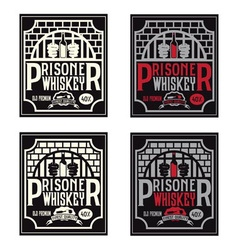 Prisoner whiskey vintage labels set design vector