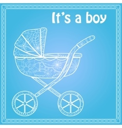 Its a boy card with baby carriage vector