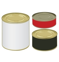 Set of aluminium colored label cans for signing vector