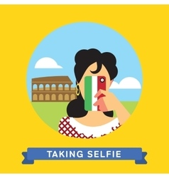 Take a photo selfie in rome italy vector