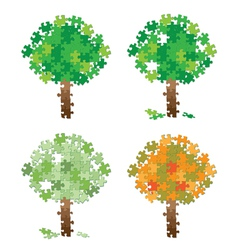Tree puzzle set vector