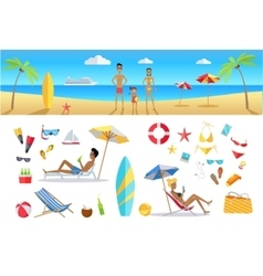 Summer vacation concept template set vector
