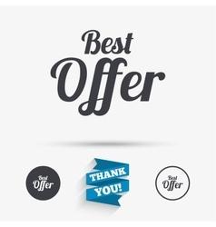 Best offer sign icon sale symbol vector