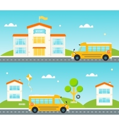 Road to and from school school bus building vector