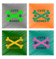 Assembly flat shading style icon cross bones vector