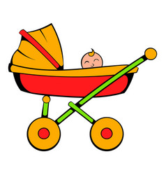 baby carriage icon cartoon vector image