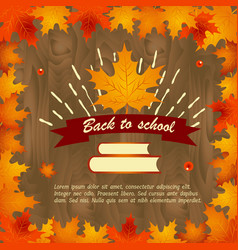 back to school background with frame of leaves vector image