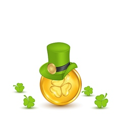 Background with hat clovers and coins in saint vector image