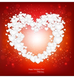 Beautiful background with red heart made from vector image vector image