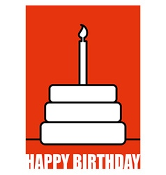 Birthday Postcard in linear style Cake and candle vector image vector image