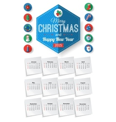 Calendar template with Christmas typographical vector image