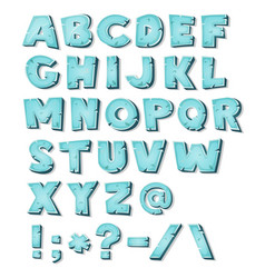 cartoon ice alphabet vector image