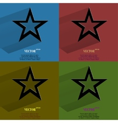 Color set star web icon flat design vector image